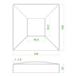 Kryt spodní příruby (108x108 / 25x1.5 mm), otvor: 40.5x40.5 mm, na profil 40x40 mm, broušená nerez K320 / AISI304 - 2
