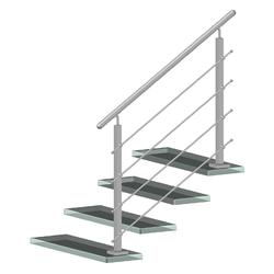 Nerezový sloup, vrchní kotvení, 4 řadový průchodný, vrch nastavitelný, (40x40 mm), broušená nerez K320 / AISI304 - 2
