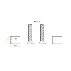 Přechod na vymezení vzdálenosti mezi sloupem (plochý) a kotevní deskou, ø 20x2,0 mm /L:15 mm, vnitřní šroub: M8x40 mm, broušená nerez K320 / AISI304, bal: 2ks - 2