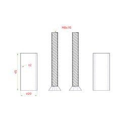 Přechod na vymezení vzdálenosti mezi sloupem (plochý) a kotevní deskou, ø 20x2,0 mm /L:45 mm, vnitřní šroub: M8x70 mm, broušená nerez K320 / AISI304, bal: 2ks - 2