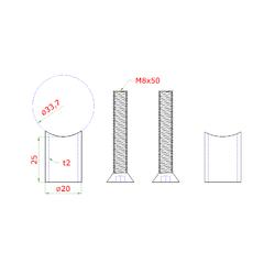 Přechod na vymezení vzdálenosti mezi sloupem ø 33.7mm a kotevní deskou, ø 20x2,0 mm /L:25 mm, vnitřní šroub: M8x50 mm, broušená nerez K320 / AISI304, bal: 2ks - 2