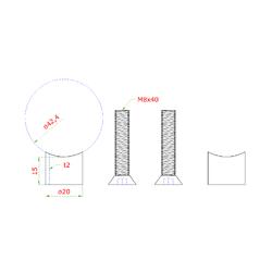 Přechod na vymezení vzdálenosti mezi sloupem ø 42,4 mm a kotevní deskou, ø 20x2,0 mm /L:15 mm, vnitřní šroub: M8x40 mm, broušená nerez K320 / AISI304, bal: 2ks - 2