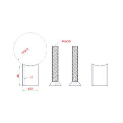 Přechod na vymezení vzdálenosti mezi sloupem ø 42.4 mm a kotevní deskou, ø 20x2,0 mm /L:25 mm, vnitřní šroub: M8x50 mm, broušená nerez K320 / AISI304, bal: 2ks - 2