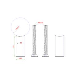 Přechod na vymezení vzdálenosti mezi sloupem ø 42.4 mm a kotevní deskou, ø 20x2,0 mm /L:45 mm, vnitřní šroub: M8x70 mm, broušená nerez K320 / AISI304, bal: 2ks - 2