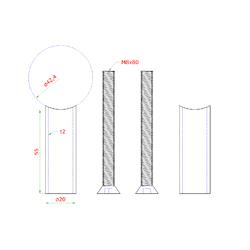 Přechod na vymezení vzdálenosti mezi sloupem ø 42,4 mm a kotevní deskou, ø 20x2,0 mm /L:55 mm, vnitřní šroub: M8x80 mm, broušená nerez K320 / AISI304, bal: 2ks - 2