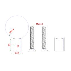 Přechod na vymezení vzdálenosti mezi sloupem ø 48.3 mm a kotevní deskou, ø 20x2,0 mm /L:25 mm, vnitřní šroub: M8x50 mm, broušená nerez K320 / AISI304, bal: 2ks - 2