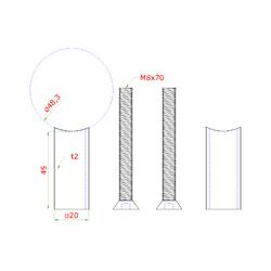 Přechod na vymezení vzdálenosti mezi sloupem ø 48.3 mm a kotevní deskou, ø 20x2,0 mm /L:45 mm, vnitřní šroub: M8x70 mm, broušená nerez K320 / AISI304, bal: 2ks - 2