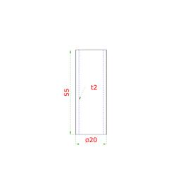 Přechod na vymezení vzdálenosti mezi sloupem (plochý) a kotevní deskou, ø 20x2,0 mm /L:55 mm, bez vnitřního šroubu, broušená nerez K320 / AISI304, bal: 1ks - 2