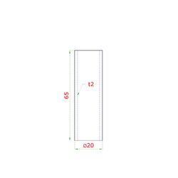 Přechod na vymezení vzdálenosti mezi sloupem (plochý) a kotevní deskou, ø 20x2,0 mm /L:65 mm, bez vnitřního šroubu, broušená nerez K320 / AISI304, bal: 1ks - 2