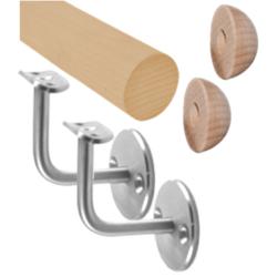 Madlo dřevěné (1500 mm), materiál: buk, broušený povrch bez nátěru, set: 2ks úchyt, madlo s ukončením - 2