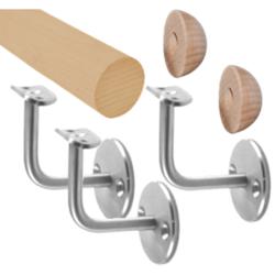 Madlo dřevěné (2000 mm), materiál: buk, broušený povrch bez nátěru, set: 3ks úchyt, madlo s ukončením - 2