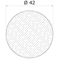 Dřevěný profil kulatý (ø 42 mm / L: 2000 mm), materiál: buk, broušený povrch bez nátěru, balení: PVC fólie - 2