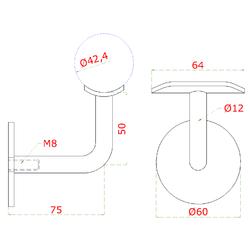 Držák madla na stěnu na trubku ø 42,4 mm (bez děr), zadní vnitřní závit M8, leštěná nerez / AISI304 - 2