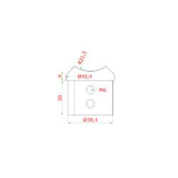 Přechod (ø 42,4x1,5 mm) na madlo EB1-HM42 a trubku D: 42,4 mm, lepený spoj, broušená nerez K320 / AISI304 - 2