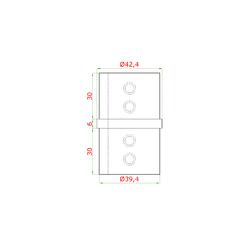 Přechod - přímý (ø 42,4x1,5 mm) na madlo EB1-HM42, lepený spoj, broušená nerez K320 / AISI304 - 2