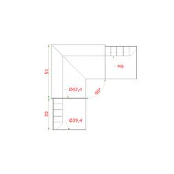 Přechod - koleno 90° (ø 42.4x1,5 mm) na madlo EB1-HM42, lepený spoj, broušená nerez K320 / AISI304 - 2