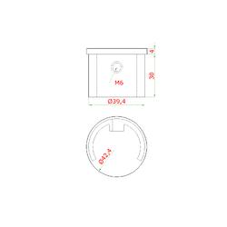 Ukončení - zátka (ø 42.4x1,5 mm) na madlo EB1-HM42, lepený spoj, broušená nerez K320 / AISI304 - 2