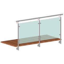 Nerezový sloup, boční kotvení, výplň: sklo, pravý, vrch pevný (ø 42,4x2 mm), broušená nerez K320 / AISI316 - 2