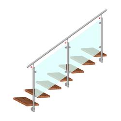 Nerezový sloup, boční kotvení, výplň: sklo, průchozí, vrch nastavitelný (ø 42,4x2 mm), broušená nerez K320 / AISI316 - 2
