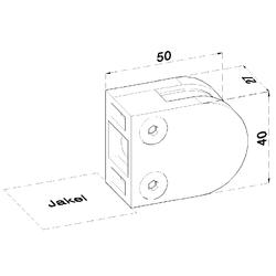 ZAMAK svorka skla plochá (50x40x26 mm) materiál: slitina AL / ZN, bez povrchové úpravy (možnost lakování), balení neobsahuje gumičky na sklo - 2