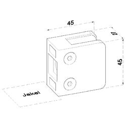 ZAMAK svorka skla plochá (45x45x26 mm) materiál: slitina AL / ZN, bez povrchové úpravy (možnost lakování), balení neobsahuje gumičky na sklo - 2