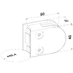 ZAMAK svorka skla na trubku ø 42.4 mm (50x40x26 mm) materiál: slitina AL / ZN, bez povrchové úpravy (možnost lakování), balení neobsahuje gumičky na sklo - 2