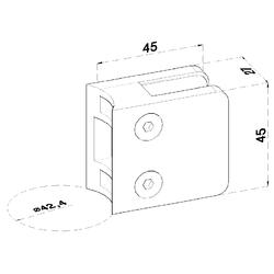 ZAMAK svorka skla na trubku ø 42.4 mm (45x45x26 mm) materiál: slitina AL / ZN, bez povrchové úpravy (možnost lakování), balení neobsahuje gumičky na sklo - 2