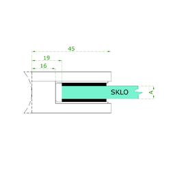 Svorka skla / plechu plochá (45x45x26 mm), bez uch. šroubu a krytek na šrouby, broušená nerez K320 / AISI304, balení neobsahuje gumičky na sklo - 3