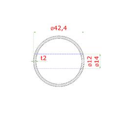 Nerezový sloup, boční kotvení, 5 děrový průchodný, vrch nastavitelný (ø 42,4x2 mm), broušená nerez K320 / AISI304 - 3