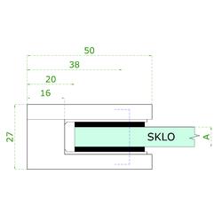 ZAMAK svorka skla plochá (50x40x26 mm) materiál: slitina AL / ZN, bez povrchové úpravy (možnost lakování), balení neobsahuje gumičky na sklo - 3