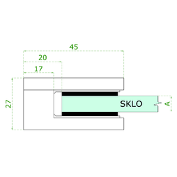ZAMAK svorka skla plochá (45x45x26 mm) materiál: slitina AL / ZN, bez povrchové úpravy (možnost lakování), balení neobsahuje gumičky na sklo - 3
