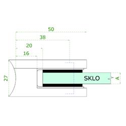 ZAMAK svorka skla na trubku ø 42.4 mm (50x40x26 mm) materiál: slitina AL / ZN, bez povrchové úpravy (možnost lakování), balení neobsahuje gumičky na sklo - 3