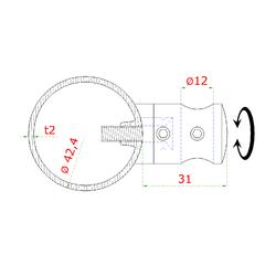 Nerezový sloup, boční kotvení, 6 řadový průchodný, vnitřní, vrch pevný (ø 42,4x2 mm), broušená nerez K320 / AISI3044 - 3