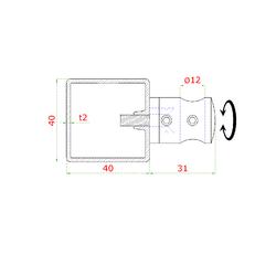 Nerezový sloup, vrchní kotvení, 6 řadový průchodný, vrch pevný (40x40 mm), broušená nerez K320 / AISI304 - 3