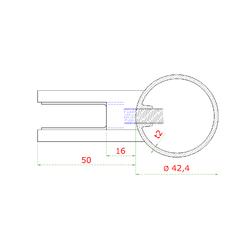 Nerezový sloup, boční kotvení, výplň: sklo, levý, vrch nastavitelný (ø42,4x2 mm), broušená nerez K320 / AISI316 - 3