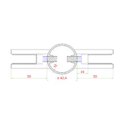 Nerezový sloup, boční kotvení, výplň: sklo, průchozí, vrch nastavitelný (ø 42,4x2 mm), broušená nerez K320 / AISI316 - 3