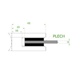Svorka skla / plechu plochá (45x45x26 mm), bez uch. šroubu a krytek na šrouby, broušená nerez K320 / AISI304, balení neobsahuje gumičky na sklo - 4
